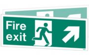 W438DSK - DOUBLE-SIDED FIRE EXIT SIGN DOWN TO THE RIGHT OR LEFT